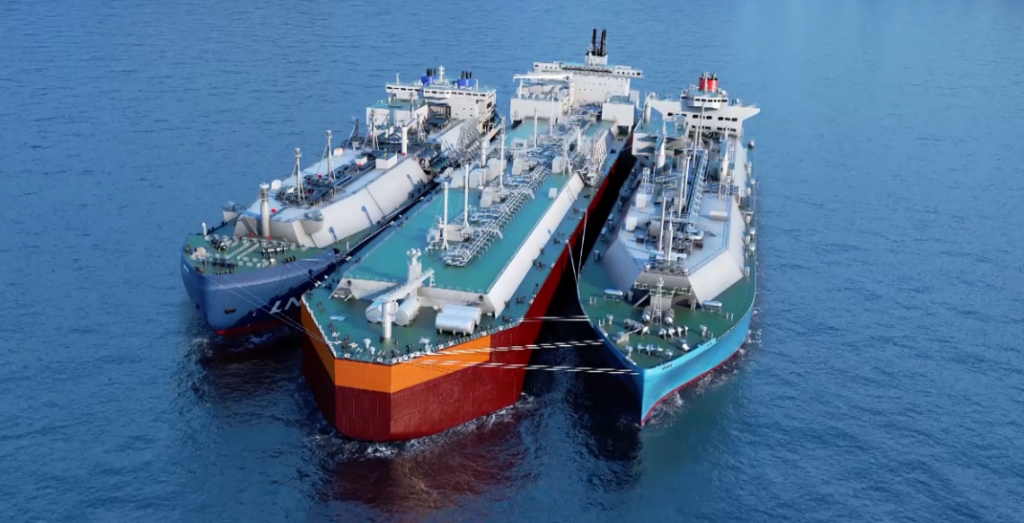 This image has an empty alt attribute; its file name is LNG-transshipment-operation-with-FSU-in-the-middle-illustrative-purpose-only-1024x523.png